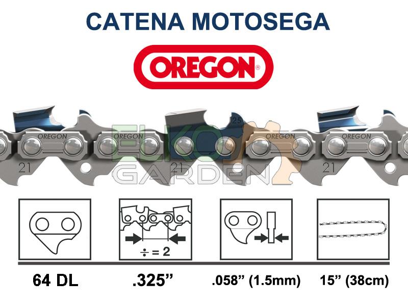 """CATENA MOTOSEGA OREGON 64 MAGLIE 325"""" - 1.5MM DENTE QUADRO - 21LPX-064E"""