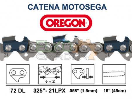 "CATENA MOTOSEGA OREGON 72 MAGLIE 325"" - 1,5mm 21LPX-072E"