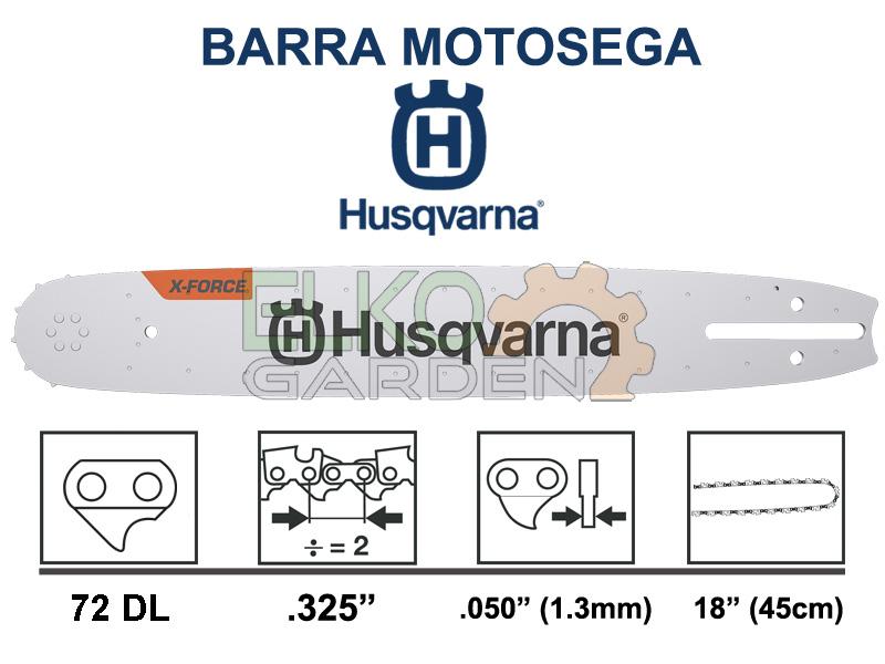 BARRA MOTOSEGA HUSQVARNA X-FORCE PASSO .325 45CM 72 MAGLIE 1.3MM 582075372