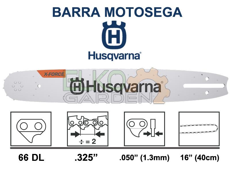 BARRA MOTOSEGA HUSQVARNA X-FORCE PASSO .325 40CM 66 MAGLIE 1.3MM 582075366 SOSTITUISCE 585943266