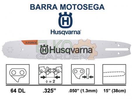 BARRA MOTOSEGA HUSQVARNA X-FORCE PASSO .325 38CM 64 MAGLIE 1.3MM 582075364