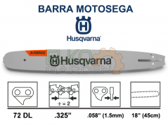 "BARRA MOTOSEGA HUSQVARNA X-FORCE .325"" 45CM 72 MAGLIE 1.5MM 582086972 EX 585943372"