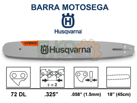 "BARRA MOTOSEGA HUSQVARNA X-FORCE .325"" 45CM 72 MAGLIE 1.5MM 582086972 EX 585943372"