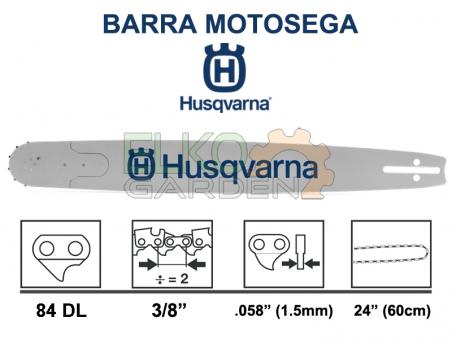 BARRA MOTOSEGA HUSQVARNA PRO PASSO 3/8 RSN 60CM 84 MAGLIE 1.5MM ATTACCO GRANDE - 501956984