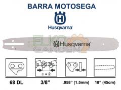 BARRA MOTOSEGA HUSQVARNA X-FORCE PRO 3/8 45CM 68 MAGLIE 1.5MM ATTACCO GRANDE - 508913168