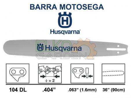 """BARRA MOTOSEGA HUSQVARNA FORGIATA PASSO .404"""" 90CM 1.6MM 501958104 - ATTACCO GRANDE"""