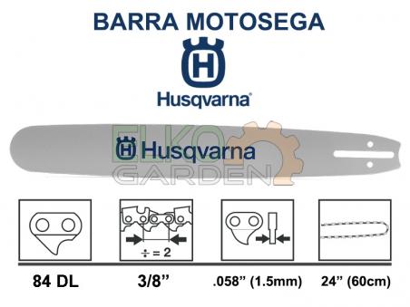 BARRA MOTOSEGA HUSQVARNA PASSO 3/8 STELLITE 60CM 84 MAGLIE 1.5MM - FORGIATA ATTACCO GRANDE - 501958084