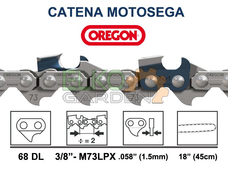 CATENA MOTOSEGA OREGON MULTICUT 68 MAGLIE 45CM 3/8 1.5MM - M73LPX-068E DENTE QUADRO