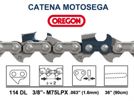 CATENA OREGON MULTICUT 114 MAGLIE 90CM PASSO 3/8 1,6 MM - M75LPX-114E DENTE QUADRO